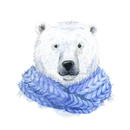 babies hands: Beautiful waterclor polar bear in a blue scarf Stock Photo