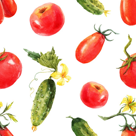 Beautiful pattern with nice watercolor hand drawn tomatos and cucumbers