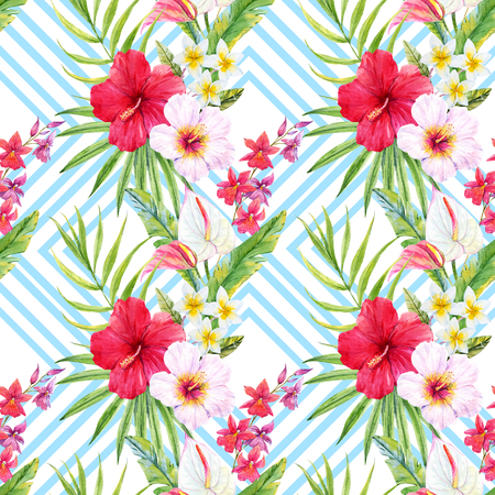 botanical gardens: Beautiful pattern with watercolor tropical leaves and flowers