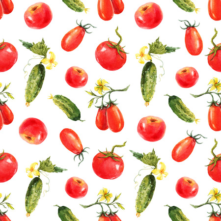 tomato: Beautiful pattern with nice watercolor hand drawn tomatos and cucumbers