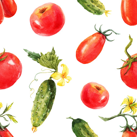 cucumbers: Beautiful pattern with nice watercolor hand drawn tomatos and cucumbers