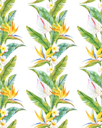 Bello modelo con las hojas y las flores tropicales acuarela Foto de archivo - 63728232