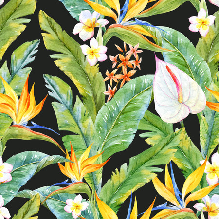 tree leaves: Beautiful pattern with watercolor tropical leaves and flowers