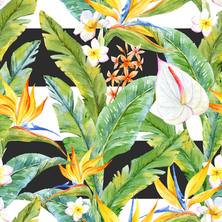 strelitzia: Beautiful pattern with watercolor tropical leaves and flowers