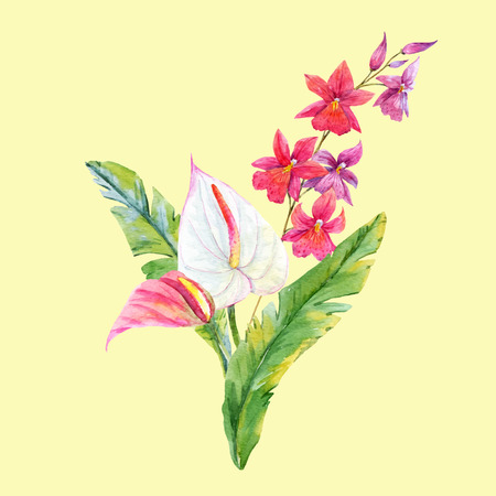 Beautiful watercolor tropical composition with leaves and flowers
