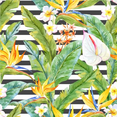 Beau motif avec aquarelle feuilles et fleurs tropicales Vecteurs