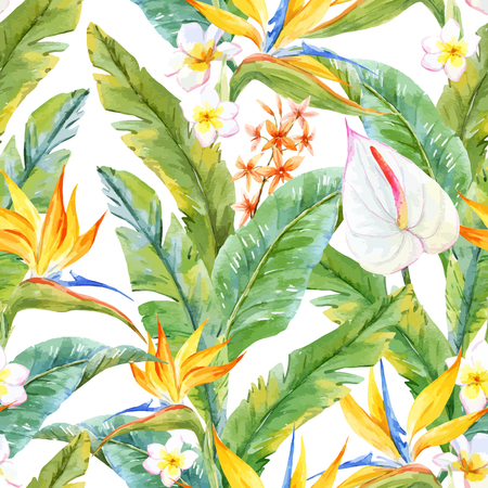 tropical tree: Beautiful pattern with watercolor tropical leaves and flowers