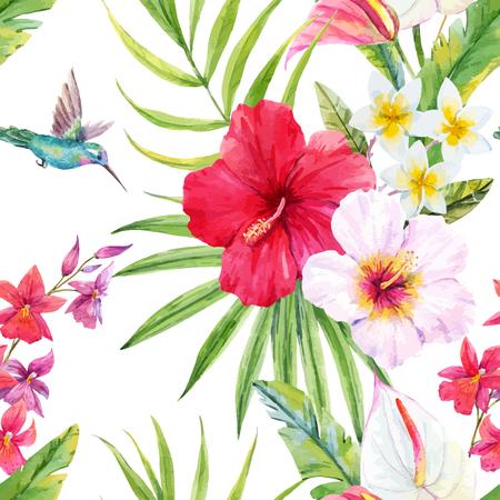 Beau motif avec aquarelle feuilles et fleurs tropicales Banque d'images - 63729508