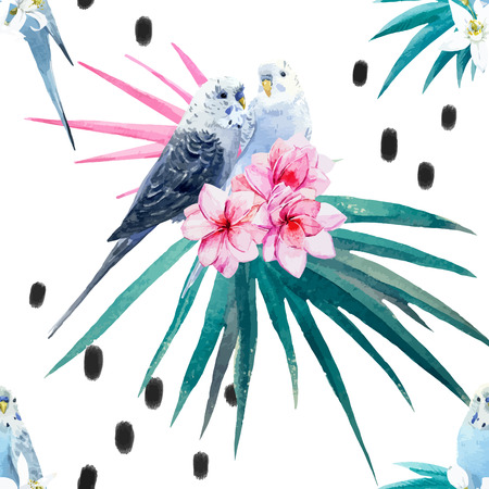 tropical flowers: Beautiful pattern with watercolor tropical flowers and birds