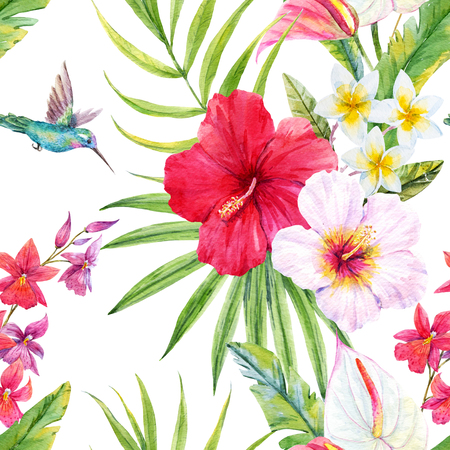 exotic fruit: Beautiful pattern with watercolor tropical leaves and flowers