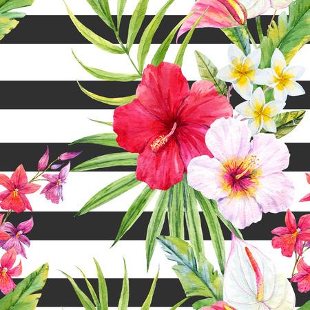 Bello modello con foglie e fiori tropicali dell'acquerello Archivio Fotografico - 63729533