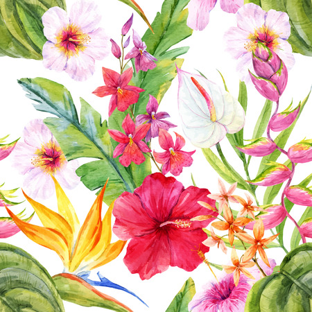 tropical flowers: Beautiful pattern with hand drawn watercolor tropical flowers and leaves