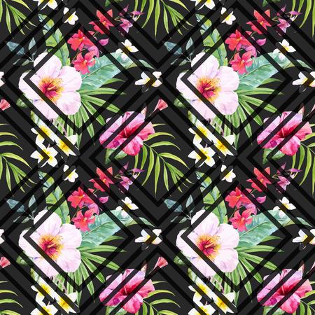 tropicale: Beau motif avec la main aquarelle dessinée fleurs tropicales et de feuilles