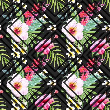 Beautiful pattern con fiori e foglie tropicali acquerello disegnato a mano Archivio Fotografico - 66476891