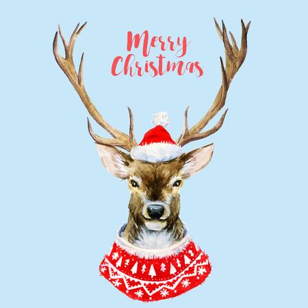 Beautiful image with hand drawn watercolor christmas deer Vektorové ilustrace