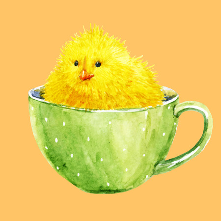 teaparty: Beautiful image with watercolor cute yellow chick in a cup