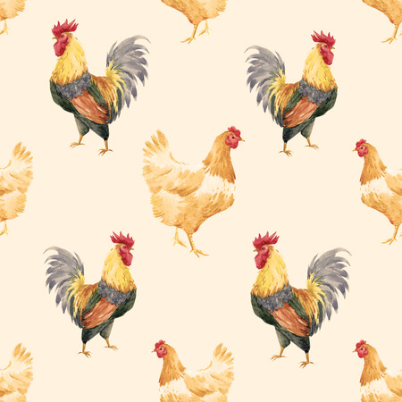 Hand drawn watercolor pattern with cock rooster symbol of 2017 year