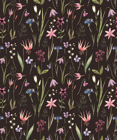 Beautiful pattern with nice hand drawn watercolor wild flowers