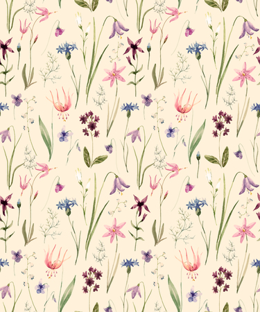 buttercup  decorative: Beautiful pattern with nice hand drawn watercolor wild flowers