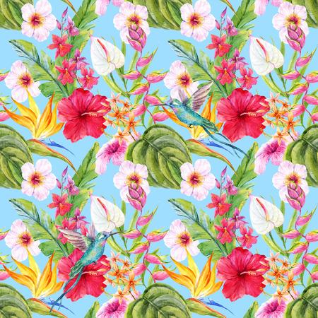 Beautiful pattern con fiori e foglie tropicali acquerello disegnato a mano