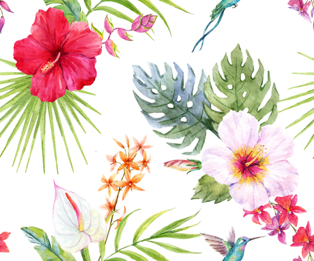 Beautiful pattern with hand drawn watercolor tropical flowers and leaves