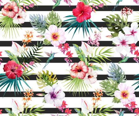 Beautiful pattern con fiori e foglie tropicali acquerello disegnato a mano Vettoriali