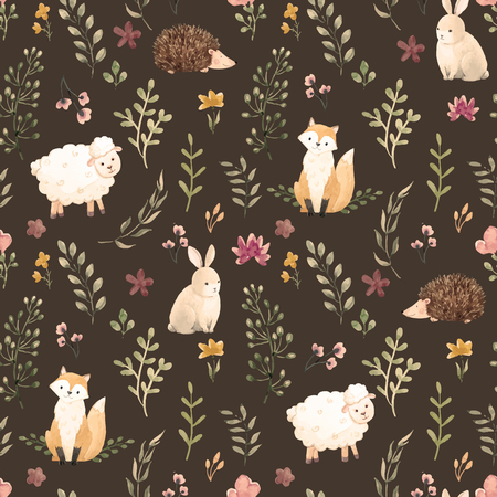 Beautiful children pattern with cute watercolor animals and flowers