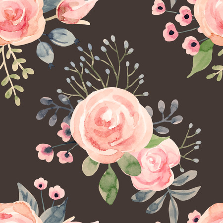 wallpapper: Beautiful pattern with nice hand drawn watercolor flowers Illustration