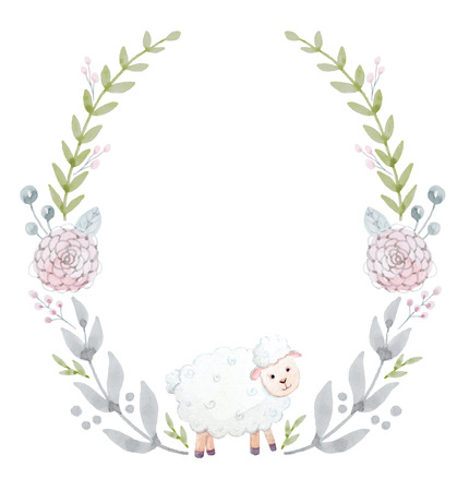 lamb: Beautiful wreath with nice hand drawn watercolor flowers and lamb