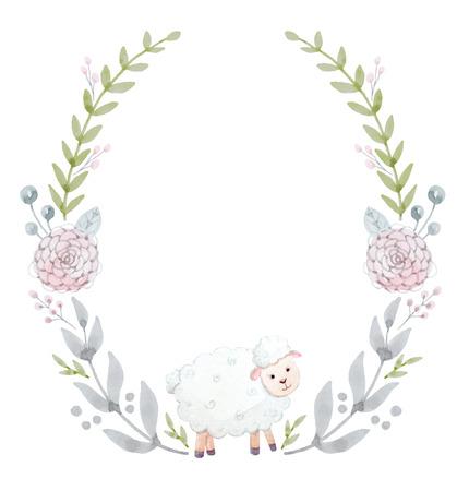 Mooie kroon met mooie handgetekende aquarel bloemen en lam