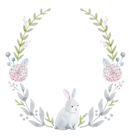 Beautiful wreath with nice hand drawn watercolor flowers and rabbit  イラスト・ベクター素材