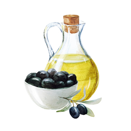 Beautiful image with nice watercolor olives and olive oil