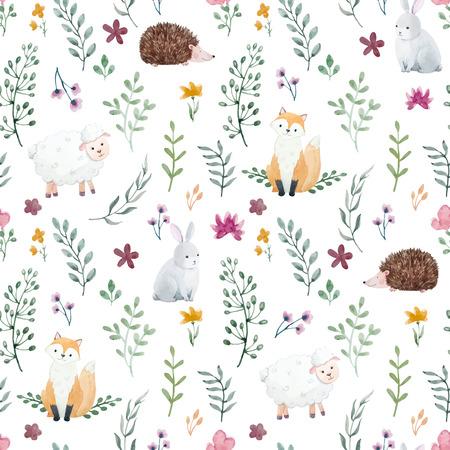 귀여운 수채화 동물과 꽃 아름 다운 아이 패턴 일러스트