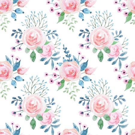 Beautiful pattern with nice hand drawn watercolor flowers Illusztráció