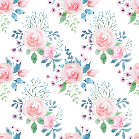 Beautiful pattern with nice hand drawn watercolor flowers Illustration