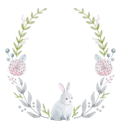 babies: Beautiful wreath with nice hand drawn watercolor flowers and rabbit Stock Photo