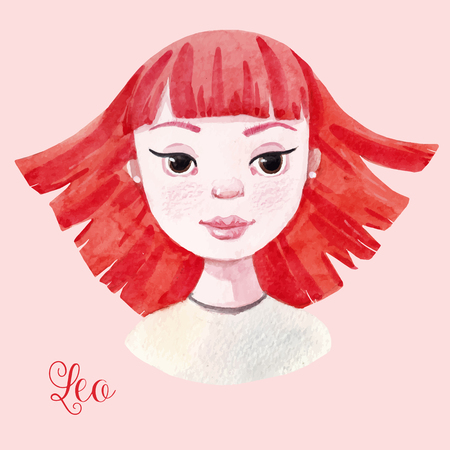 Beautiful watercolor hand drawn girl as a symbol of horoscope sign leo