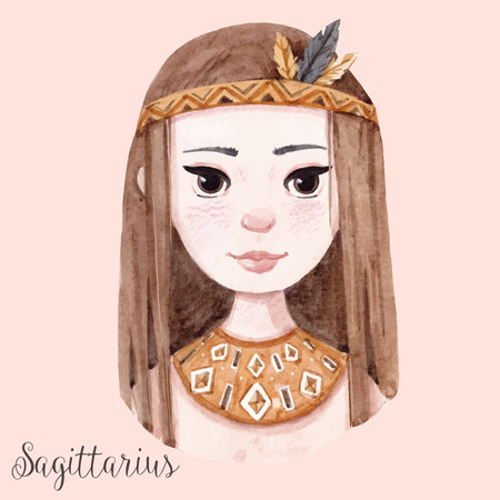 Beautiful watercolor hand drawn girl as a symbol of horoscope sign sagittarius Illustration
