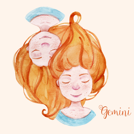 zodiacal symbol: Beautiful watercolor hand drawn girl as a symbol of horoscope sign gemini Illustration