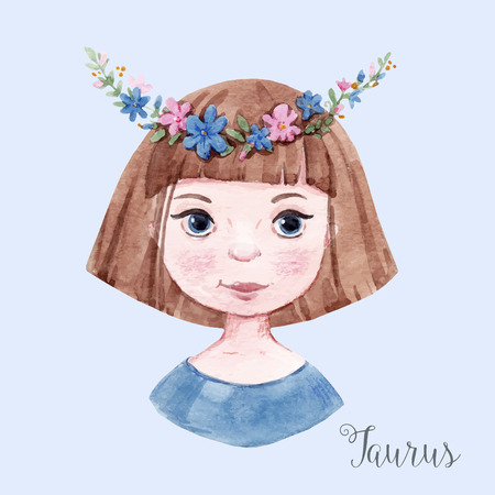 zodiacal symbol: Beautiful watercolor hand drawn girl as a symbol of horoscope sign taurus