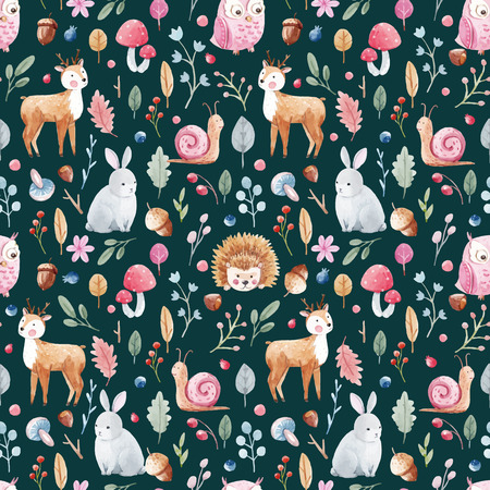 Beautiful vector pattern for babies with nice watercolor animals and plants