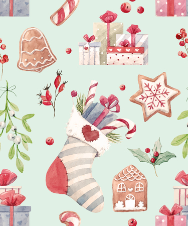 biscuts: Beautiful vector pattern with some christmas attributes such as sock gifts biscuits