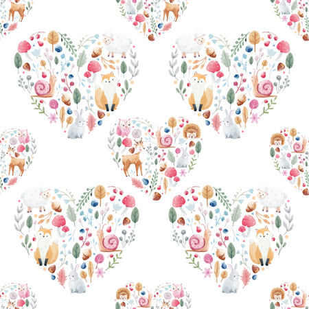 Cute pattern with nice hand drawn watercolor flowers and animals.