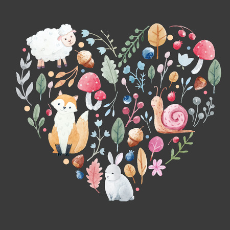 Beautiful vector watercolor heart that contains hand drawn animals and plants