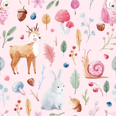 좋은 수채화 동물과 식물 아기를위한 아름 다운 벡터 패턴