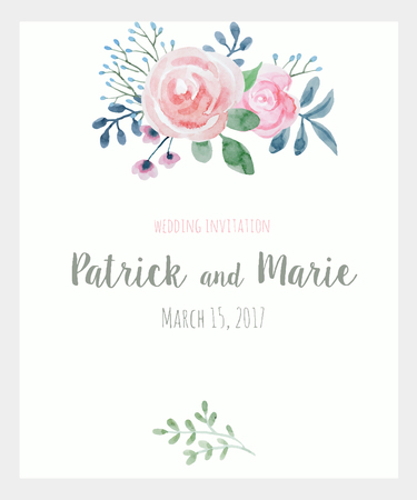 flower  hand: Nice wedding invitation template with watercolor hand drawn flowers Illustration