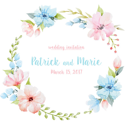 Beautiful watercolor hand drawn floral wreath frame