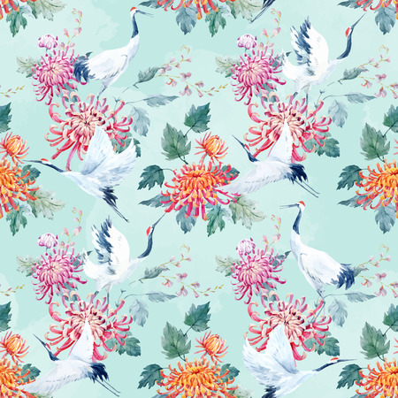 Beautiful vector pattern with nice watercolor hand drawn cranes and flower Ilustração
