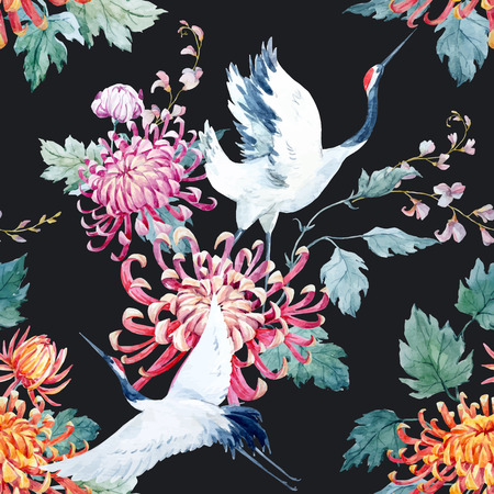 Beautiful vector pattern with nice watercolor hand drawn cranes and flower Vettoriali