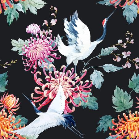 Piękne wektor wzorca ładny Akwarele ręcznie narysowanych dźwigów i kwiat Ilustracje wektorowe